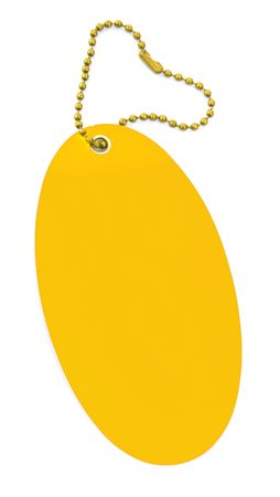 close-up of a blank yellow price tag on white photo