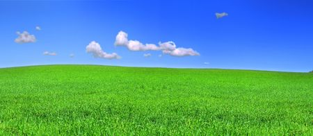 beautiful panoramic view of peaceful grassland, blue sky above photo