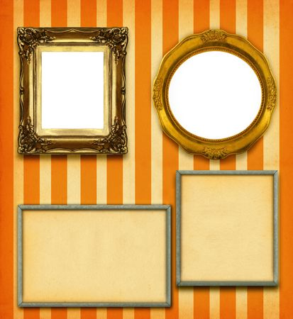 XXL size selection of picture frames on stripy wallpaper  Stock Photo