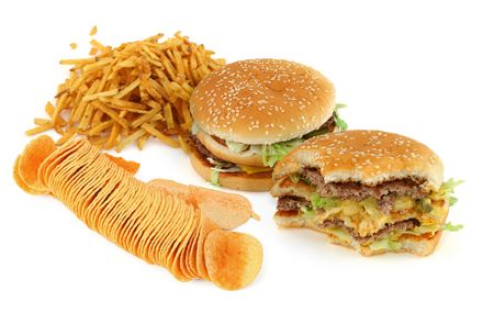 unhealthy food composition against white background  Stock Photo - 3296048