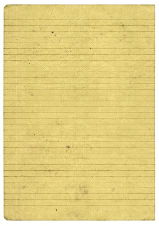 XXL size piece of old lined paper page isolated on pure white background