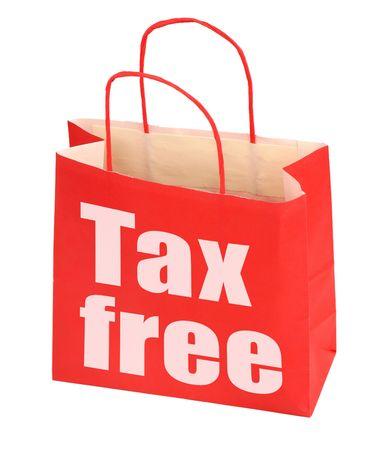 reduced value: bolsa de papel rojo con signo libres de impuestos en fondo blanco, foto no infringe ning�n derecho de autor