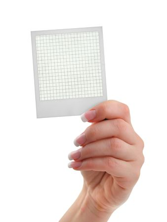 female hand holding a photo frame with a squared inside, isolated on white photo