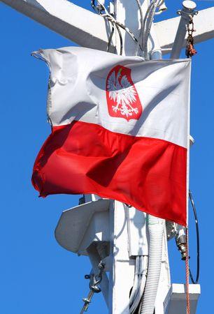 bandera de polonia: Polaco bandera batiendo en el viento, nubes en el cielo azul de fondo  Foto de archivo