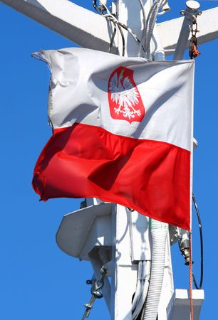 polish flag: Polish flag flapping in the wind, cloudless blues sky in background