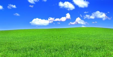 panoramic view of peaceful grassland, blue sky above Stock Photo