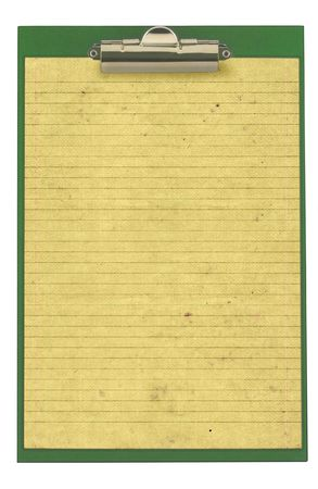 piece of lined paper stuck to a clipboard, isolated on white photo