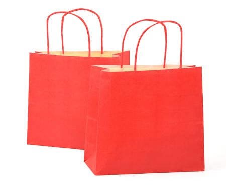 two shopping bags on white background photo