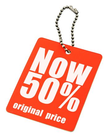 close-up of a price tag on white, no copyright infringement Stock Photo