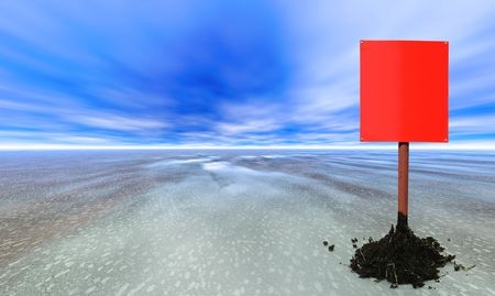 spacial: red blank sign post on an abstract planet Stock Photo
