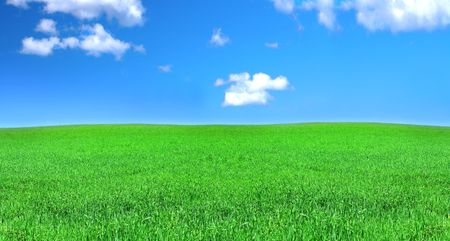 blissfull: panoramic view of peaceful grassland, blue sky above Stock Photo