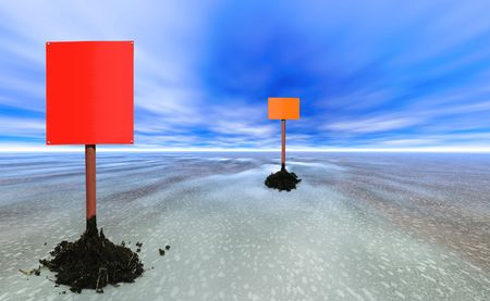 two blank sign posts on an abstract planet photo