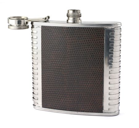 hip flask: single hip flask on white background