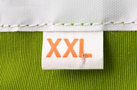 real macro of XXL size clothing label Stock Photo