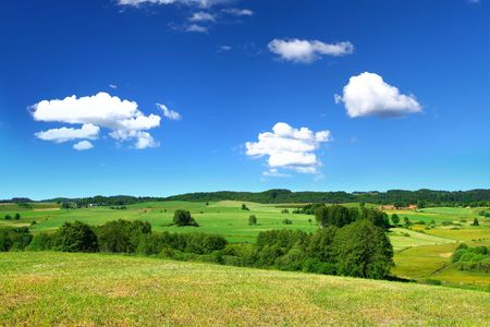 cumulus: summer landscape with cumulus clouds above Stock Photo