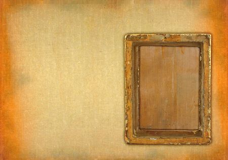 ruined empty frame against retro stained background photo