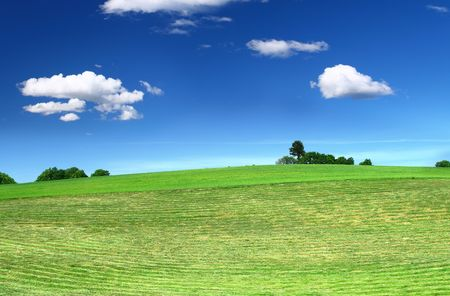 cumulus: mowed lawn, beautiful cumulus clouds in background Stock Photo