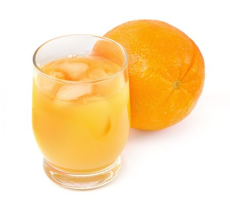 freshly squeezed orange juice on white background, gentle shadow in front photo