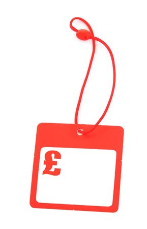 gifttag: tag with pound symbol and copy space for price, no copyright infringement