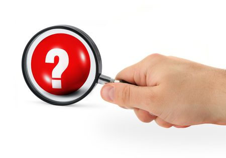 questioner: question concept - hand with magnifying glass Stock Photo