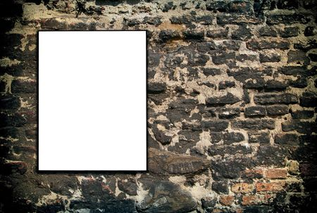 hollow wall: hollow frame on an old brick wall