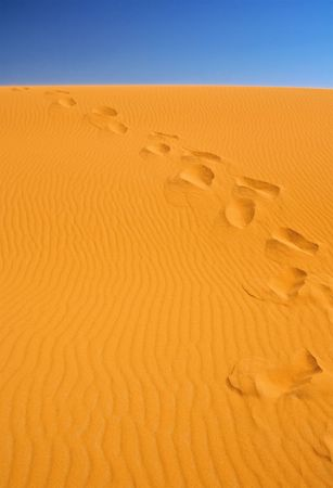 footsteps on sand dunes, cloudless sky in background Stock Photo - 5498681
