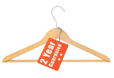 coathanger: coat hanger with guarantee tag isolated on white background Stock Photo