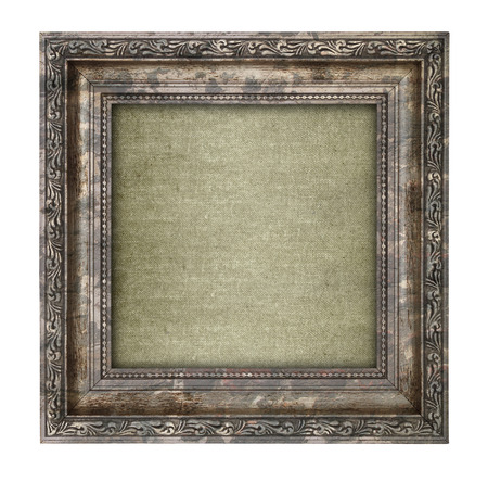 Ruined wooden frame with canvas interior isolated on white  photo