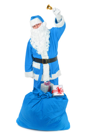 sackful: Frozen Santa claus with attributes on white background