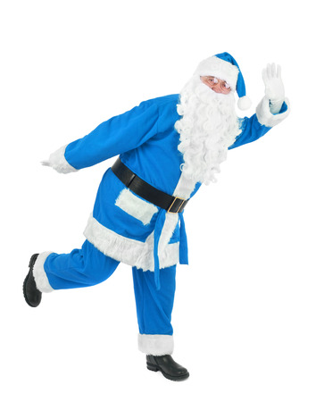 oscillate: Funny blue santa waves hand over white background