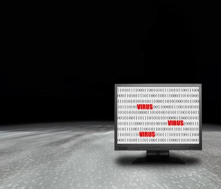 virus informatico: monitor de ordenador con pantalla de virus en el ambiente abstracto