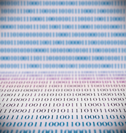 cryptography: Abstract binary code, shallow depth of field, foreground nad background is out of focus Stock Photo