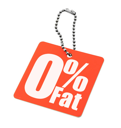Zero percent fat tag isolated on white background photo