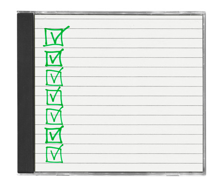 memorise: cd cover with checklist isolated on white background