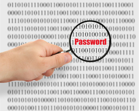 concept of password cracking, binary code in background is abstract photo