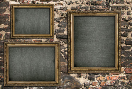 triptych: Triptych with empty canvas over ruined brick wall