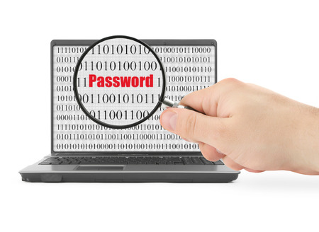 logon: Hand with magnifying glass is searching for password, binary code is abstract