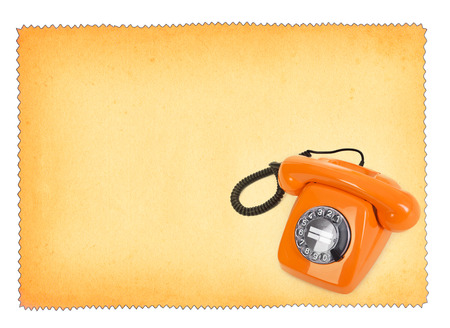 bakelite: classic bakelite telephone over stained paper background, all isolated on white background Stock Photo