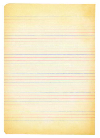memorise: yellowed notebook paper isolated on white background