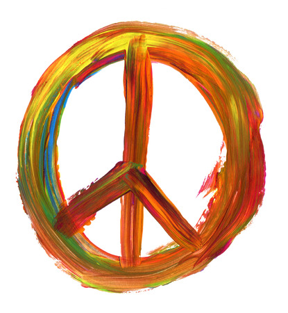 green peace: hand painted peace sign isolated on pure white background