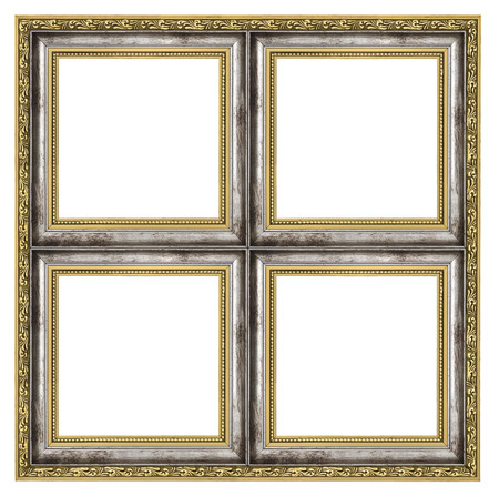 quadruple: quadruple frame isolated on pure white background Stock Photo