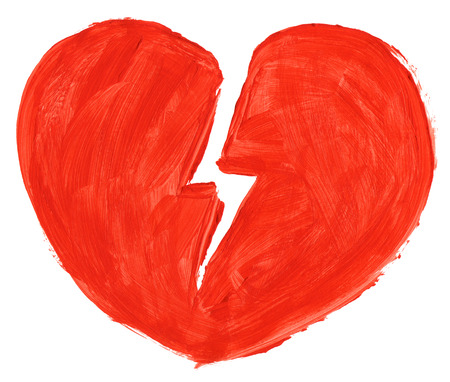 Hand painted symbol of broken love isoloated on pure white background