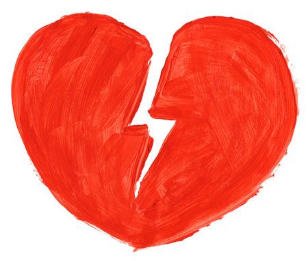 corazon roto: S�mbolo de la mano pintada de amor roto isoloated sobre fondo blanco puro