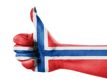 approbation: Flag of Norway painted on hand Stock Photo