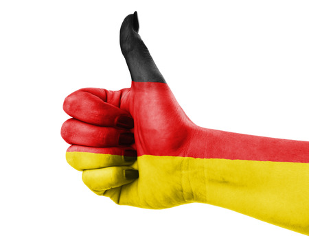 thumbup: Flag of Germany painted on hand