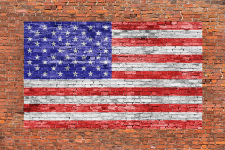 red wall: American flag painted over old brick wall Stock Photo