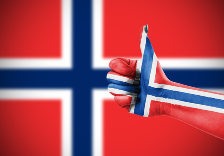satisfy: Flag of Norway painted on hand Stock Photo