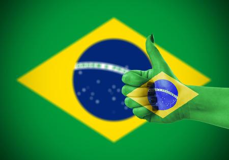 National flag of Brazil on female hand