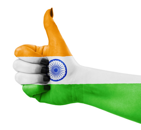 thumbup: Flag of India painted on hand Stock Photo