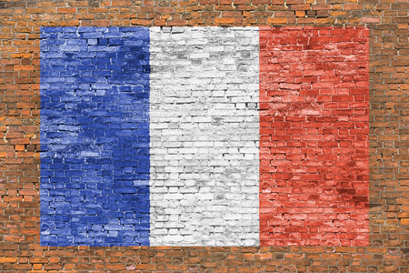 wall mural: Flag of France painted over aged brick wall Stock Photo